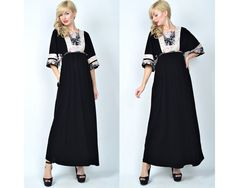 Vintage 70s Black Floral Maxi Dress Bell Sleeve by thekissingtree, $46.00
