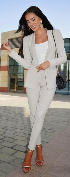 Neutral Suit Chic Style by Laura Badura Fashion