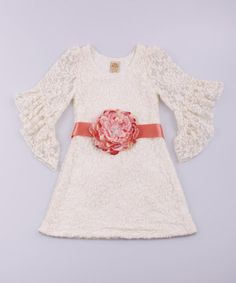 Look at this #zulilyfind! Ivory Boho Chic Lace Dress - Toddler & Girls by Mia Belle Baby #zulilyfinds