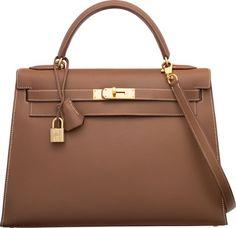 Hermes 32cm Noisette Evercalf Leather Sellier Kelly Bag…