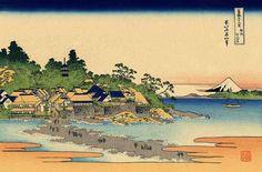 36 Views Or Mount Fuji - Katsushika Hokusai c. 1760 - 1849.  This print is #17 being an ink print made from woodblock.  Title - Enoshima in Sagami Province.   Soshū Enoshima. 相州江の島 .