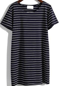 Romwe Short Sleeve Striped Dress