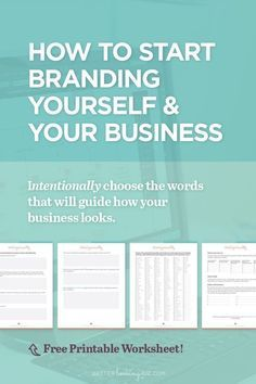 How to Start Branding Yourself and Your Business by Better Looking Biz. Or maybe you need to consolidate and refresh your existing brand? These branding tips + worksheet will help you cre Inbound Marketing, Affiliate Marketing, Marketing Online, Marketing Digital, Content Marketing, Internet Marketing, Marketing Plan, Marketing Strategies, Media Marketing