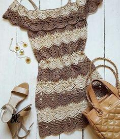Lindo vestido em crochê ombro nu - veja o gráfico    Croche e artesanatos