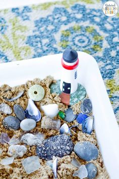 This Beach Sensory Bin is so much fun! The kids will love the fact they can have a little bit of messy play and creativity, too! Add Ocean Sensory Activities for Toddlers and Preschoolers to your themed learning or summer activities. Ocean Activities, Sensory Activities Toddlers, Sensory Bags, Sensory Bottles, Sensory Play, Toddler Preschool, Summer Activities, Discovery Bottles, Small World Play
