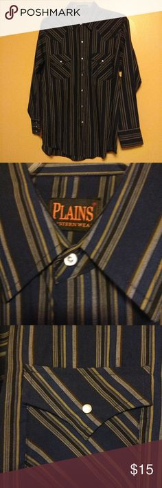 Plains Western Shirt NWT, navy blue and gray stripped western shirt.  Marbel like button down the front, pocket and cuffs.  Two flap pockets. Plains Western Wear Shirts