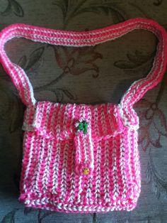 Rainbow loom band shoulder bag made by Carole Mckerlie