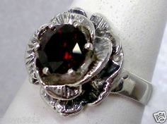 $59.00 natural red garnet flower sterling silver ring size 8.5 USA made