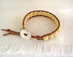 Butter Yellow Jade Bracelet  Boho Spring Jewelry by theknottedgem