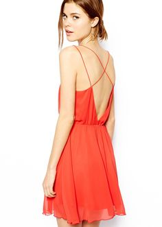 Orange V-shaped Neckline Spaghetti Strap Pleated Dress US$30.98
