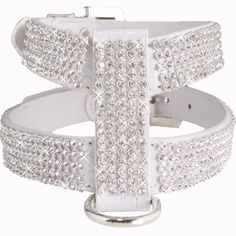 Large White Crocodile PU Leather Bling Diamond Crystal Rhinestones Dog Harness #Unbranded