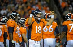 Description of . DENVER, CO - AUGUST 23: Denver Broncos quarterback Peyton Manning (18) calls out signals during the second quarter against the Houston Texans August 23, 2014 at Sports Authority Field at Mile High Stadium. (Photo by John Leyba/The Denver Post)