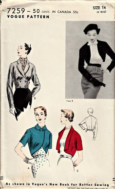 RARE 1950's Vintage Vogue Pattern - Vogue 7259 - Bolero Pattern from Vogue's New Book for Better Sewing - UNCUT, FF, Mint!...one of my book patterns!!