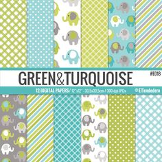 Papeles digitales con elefantes verdes y turquesas por eltendedero