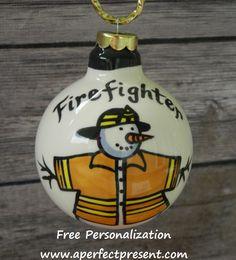 Fireman Snowman Ornament