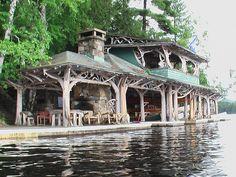 Boathouse at Camp Topridge in the Adirondacks.