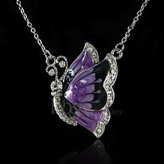 18K WGP Purple Butterfly Necklace Use Swarovski Crystal NP1959 Free Gift Pouch in Jewellery & Watches, Fashion Jewellery, Necklaces & Pendants | eBay