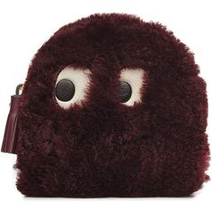 Anya Hindmarch Ghost Shearling Zipped Coin Purse ($359) ❤ liked on Polyvore featuring bags, wallets, red, zipper coin purse, red wallet, coin purse, zipper change purse and zip coin purse