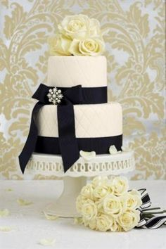 'Couture Chic' two-tiered wedding cake - Traditional wedding cakes