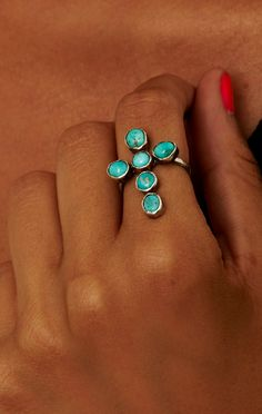 Rejoice The Hands Paiute Cross Ring #turquoise