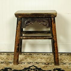 asian antique wood stool