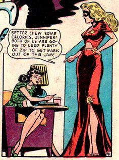 "superdames: """"Chew some calories"" is pretty great slang for eating. —Blonde Phantom by Syd Shores "" Phantom Comics, Comic Art, Comic Books, Dark Memes, Comic Panels, Diy Crystals, Vintage Comics, Marvel Cinematic Universe, Golden Age"
