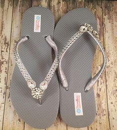 b3be9c2691692a Silver Rhinestone Bridal Flip Flops