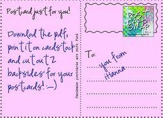 Free printable postcard backside by iHanna -- use for camp write along post cards