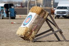 Arrows in a hay bale target during a Mounted Archery Association... Photo-5784592.80528 - San Antonio Express-News