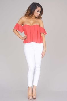Sweet Nothings Off Shoulder Crop Top - Coral Red - New Arrivals