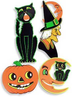 the howling halloween black cat silhouette is the classic halloween decoration that is reminiscent of vintage beistle halloween cutouts - Beistle Halloween Decorations