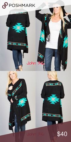 Warm knit cardigans Knitted open cardigan with a gorgeous Aztec print. S/M (2-8) L/XL (10-14) Price is firm! Boutique Sweaters Cardigans