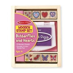 Melissa & Doug Butterfly and Heart Wooden Stamp Set Stamps and Stamp Pad, Great Gift for Girls and Boys - Best for 6 Year Olds and Up) Sports Games For Kids, Wooden Rabbit, Thing 1, Stamp Pad, Videos Tumblr, Melissa & Doug, Toddler Preschool, Toddler Toys, Easter Baskets
