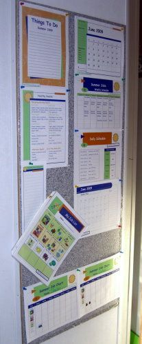 A time management board would work great in the entry way to the kitchen.  This one from Household planner is going to be perfect inspiration