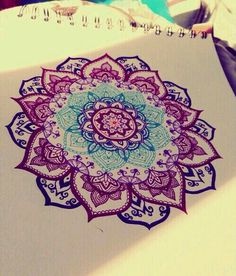 Colorful mandala art design flower hippie tattoo I want done on the back of my neck ♡