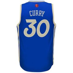 2015 Men's Golden State Warriors Stephen Curry adidas Blue Christmas Day Swingman Jersey
