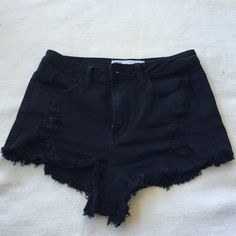 Black High Waisted Denim Shorts High waisted black shorts. Never worn. Fit small. Tilly's Jeans