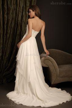 Outdoor Reißverschluss Geschichtes Ärmelloses Romantisches Brautkleid aus Chiffon