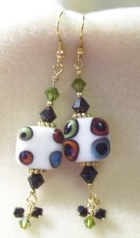 White with Green Blue & Red Deco Lampwork Glass Bead Earrings $17.00