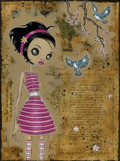 Caia Koopman, I love the way she used the story book paper for a back ground.