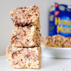 Gooey S'more Rice Krispie Treats      * 6 cups Rice Krispies Cereal      * 1 bag (10.5-oz) miniature marshmallows      * 1/4 cup (4 Tbsp) unsalted butter (I used Land O Lakes light butter – regular butter would be fine)      * 1.5 cups graham cracker pieces      * 3/4 cup mini chocolate chips (you may use regular size)