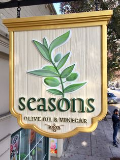 Seasons Olive Oil & Vinegar. HDU sign, CNC carved and hand painted. Morristown, NJ Design Wood, Wooden Signage, Sign Board Design, Retail Signs, Exterior Signage, Carved Wood Signs, Pub Signs, Store Signs, Decorative Signs