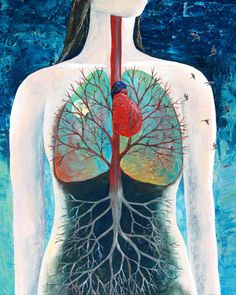 """8x10 Art Print """"Breathing"""" - Trees and Anatomy Art - Lungs"""