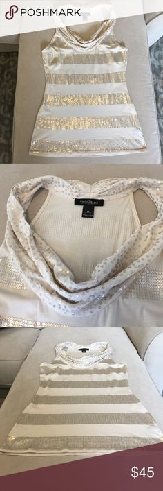🔅WHBM🔅 Soft Cream and Gold Sequined Tank GORGEOUS! Impeccable EUC!! Beautiful cowl neck. Tank measures approximately 26 inches long. Pair with white jeans   and nude heels for a summer night out. White House Black Market Tops Tank Tops