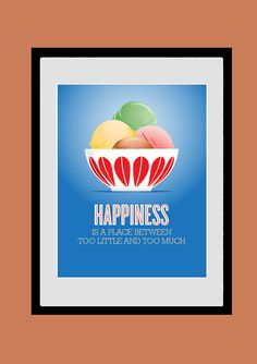 Cathrineholm Kitchen Art, Happiness Is, Inspirational Print, Poster, Motivational Wall Art, 8 x 10Giclee Printt, Mid Century Modern