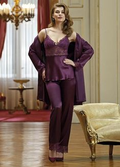 Nurteks 5921 Satin Robe & Pajamas Set will make you redefine comfort when you wear this cozy and stylish set. Satin Sleepwear, Satin Pyjama Set, Satin Pajamas, Sleepwear Women, Pajama Set, Pyjamas, Bride Lingerie, Wedding Night Lingerie, Pretty Lingerie