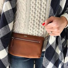 "We're weekend ready! Sarah Rose Stuart is going ""hands-free"" with her new M&G monogrammed belt bag. 📷: @__srs__  Show us your M&G favorites using #mymarkandgraham for a chance to be regrammed and featured on our site."