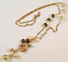 Long Pearl and Crystal Necklace With Charm by RueRueOriginals