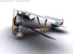 3D Model Nieuport 24 WW1 Biplane fighter c4d, obj, 3ds, fbx, ma, lwo 20608