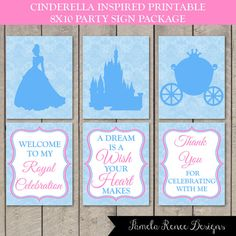 INSTANT DOWNLOAD Cinderella Inspired 8x10 Party Sign Package by PamelaReneeDesigns, only $6.00. Printable DIY. Perfect for birthday party, bridal shower or baby shower!